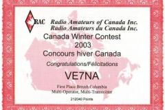 RAC-Canada-Winter-Contest-2003